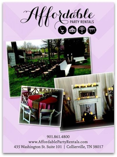 Affordable Party Rentals - Event Rentals - Collierville, TN - party rental flyer