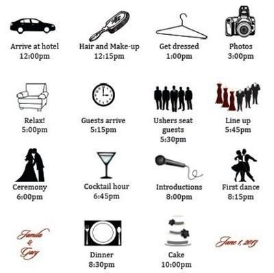 Wedding Timeline Wedding Week Timeline Template For Guests Wedding