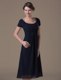 A-line Dark Navy Chiffon Maternity Bridesmaid Dress with ...