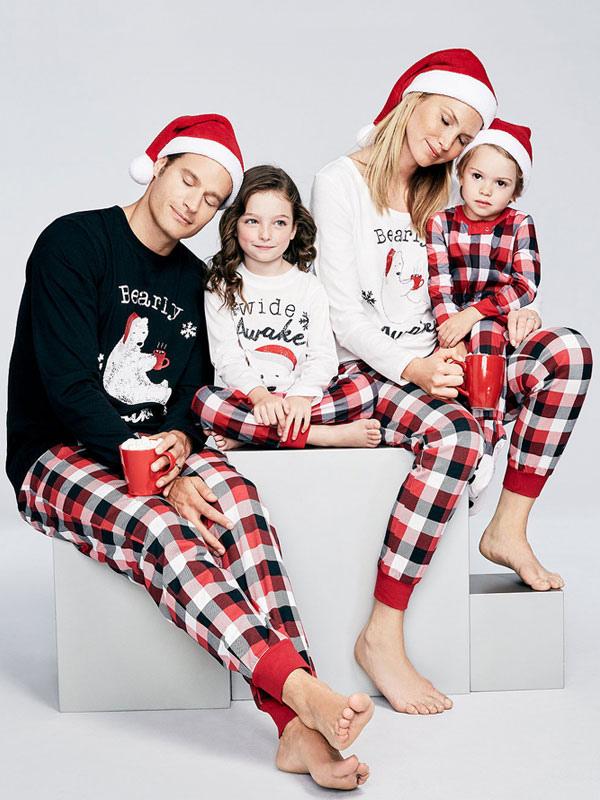 Pijama de Navidad familiar Navidad para Navidad Invierno sets roja