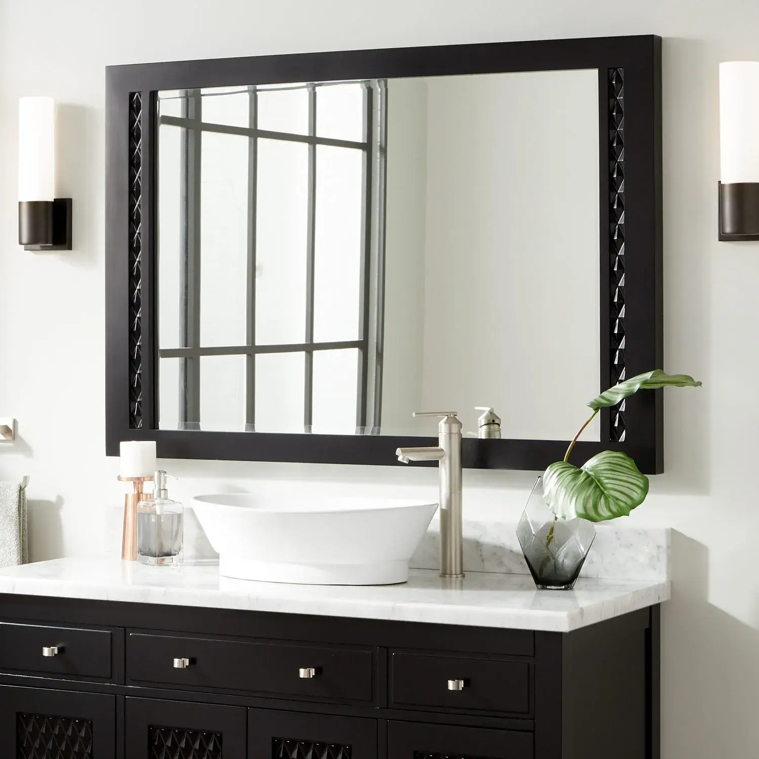 Thorton Mahogany Vanity Mirror Black Framed Mirrors Bathroom Mirrors Bathroom