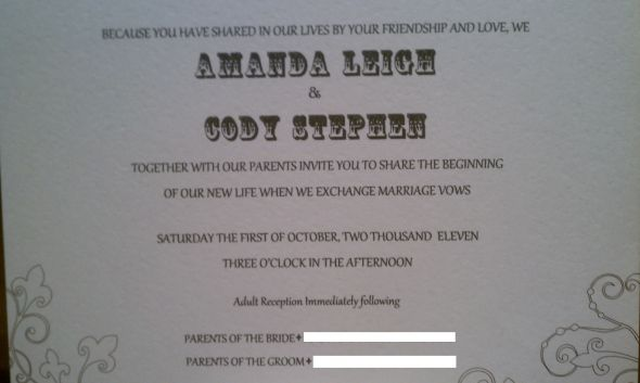 Wedding invitation and response card wording