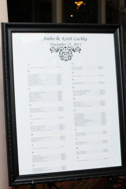 wedding reception seating chart