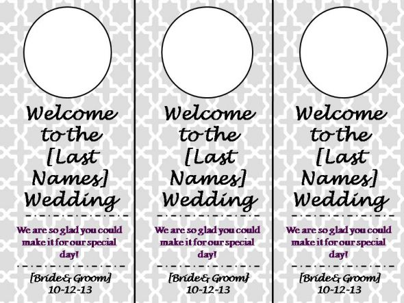 Gorgeous 30+ Wedding Door Hanger Template Design Ideas Of Sample - door hanger template