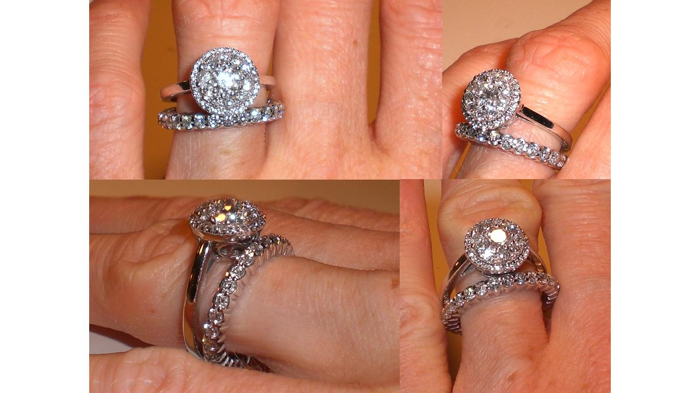 show me your diamond wedding band that is larger than engagement band 3 band wedding ring 1 2 3