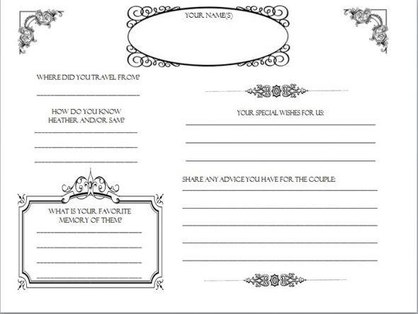 NEW 644 WEDDING GUEST BOOK TEMPLATE WORD wedding guestbook