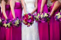 Bridesmaid Flowers  Magenta Dresses