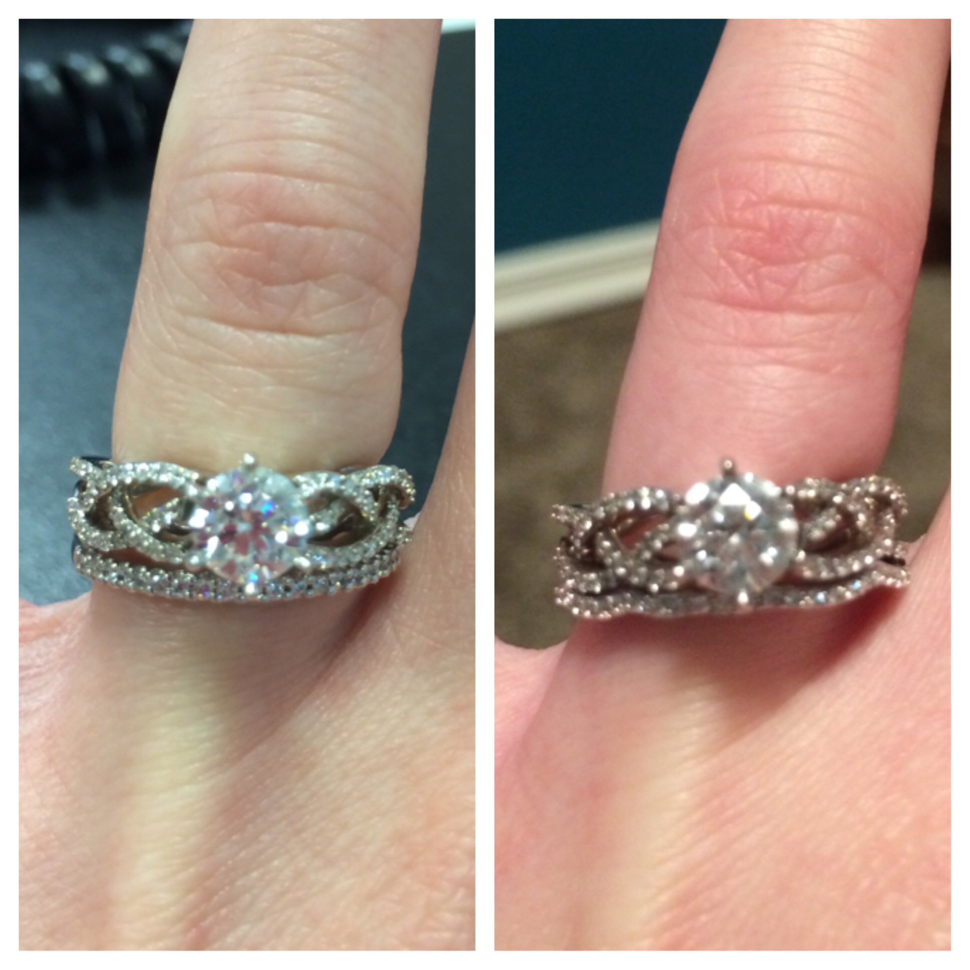 straight vs curved wedding band for braided ring wedding band curved I need your opinions on what wedding band I should get for my e ring the curved one that is part if the set or straight i like both for