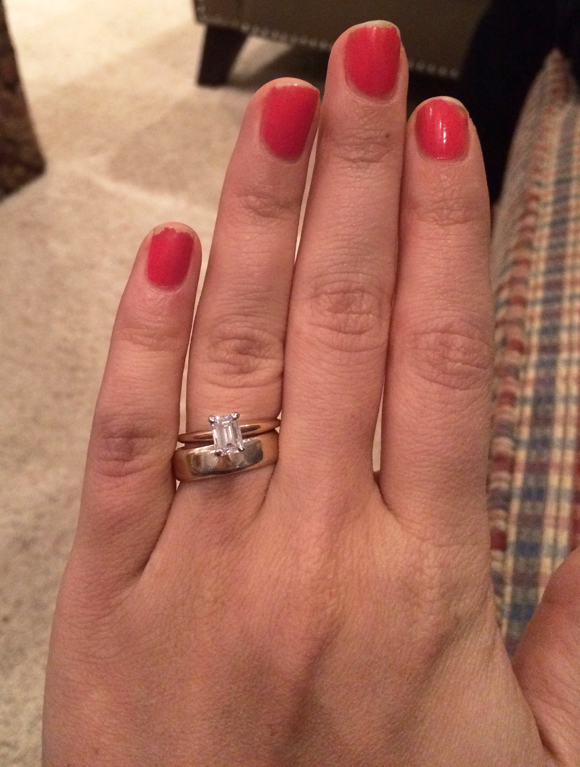 thin engagement ring thick wedding band thin wedding bands Mom W