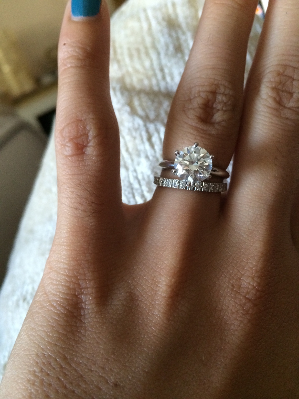 show me your wedding band with tiffanystyle solitaire e ring tiffany wedding bands It s not too much or too little Just enough sparkle to not take away from my 2 carat rock Both the engagement ring and wedding band are from Tiffany s