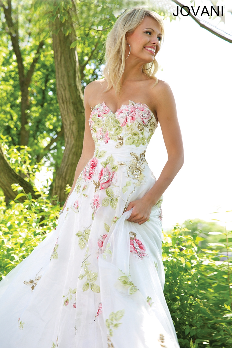 floral print wedding dress jovani wedding dress Floral Print Wedding Dress