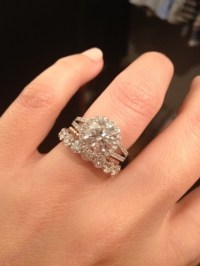Eternity, wedding, and engagement rings worn together ...