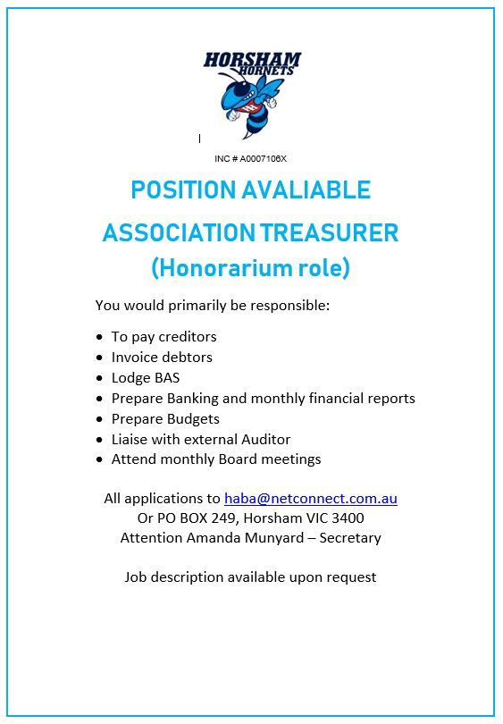 Position Available - Association Treasurer - Horsham Amatuer - treasurer job description