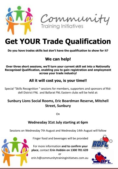 Want to earn YOUR Trade Qualification? - Riddell District Football