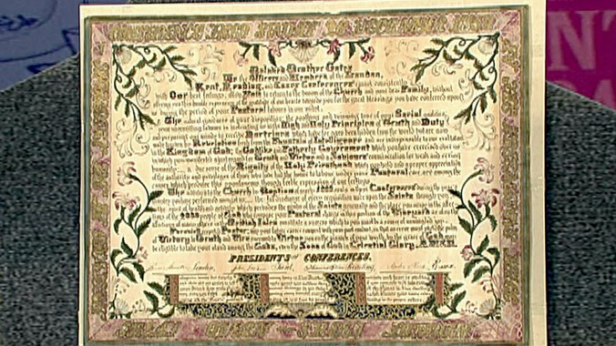 Mormon Certificate of Gratitude Antiques Roadshow PBS