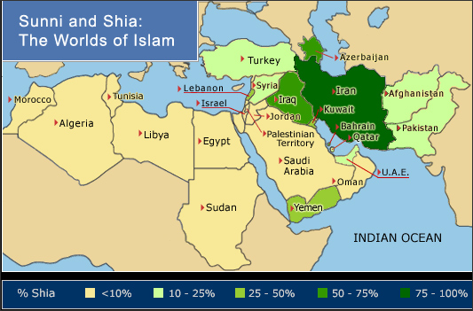 Sunni/Shia demographics in the Middle East Charts and Graphs