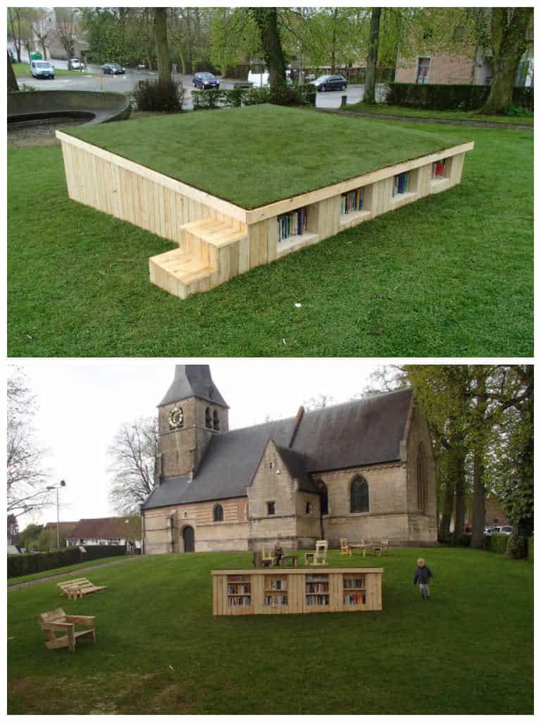 Outside Library With Repurposed Pallets O 1001 Pallets