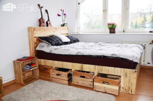 Pallet Wood King Size Bed With Drawers Storage O 1001