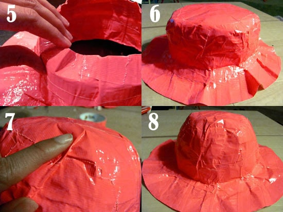 more steps to making a Duct tape sun hat