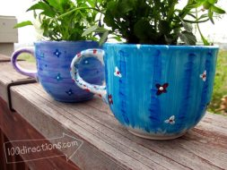 Painted tea cup flower pots