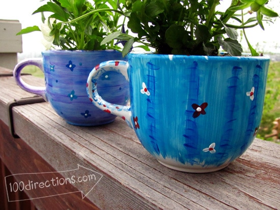 hand painted tea cup flower pots