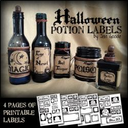 Printable Halloween potion and witch's brew labels