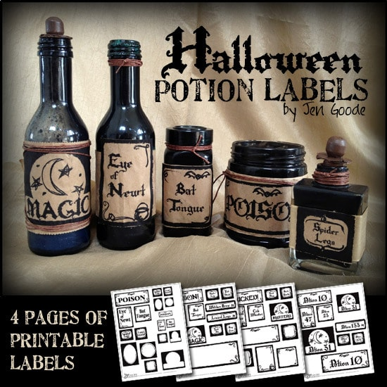 Printable Halloween potion labels by Jen Goode