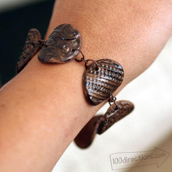 Finished clay bracelet by Jen Goode