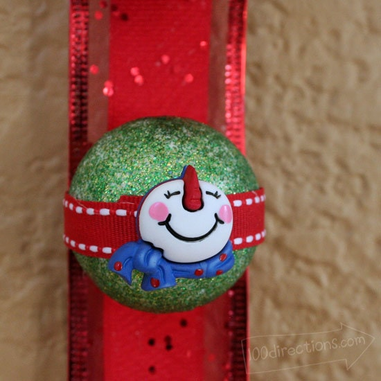 Christmas wall hanging ball close-up