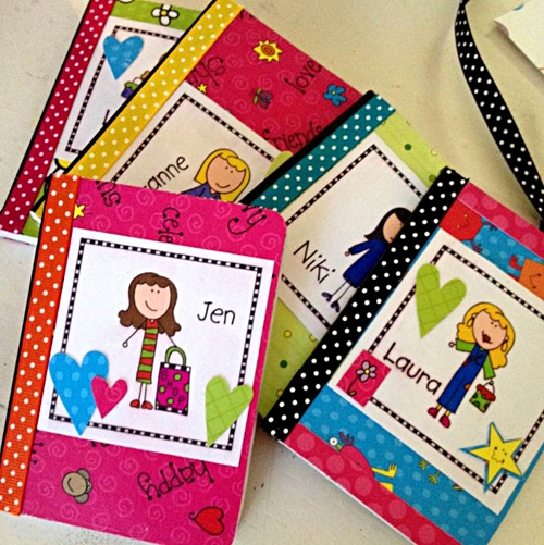 Personalized mini notebooks with Laura Kelly's Me and My Peeps papers