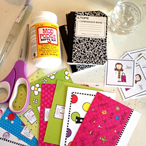 Supplies to decorate your own mini notebook