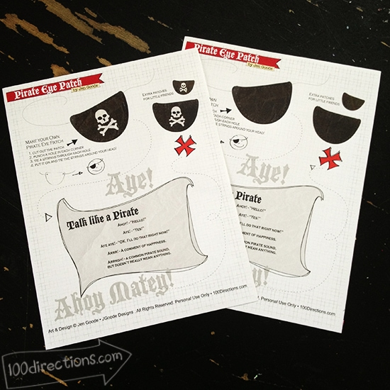 Pirate eye patch printables by Jen Goode