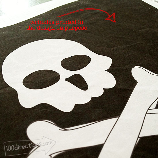 Wrinkles designed into the Pirate Printables