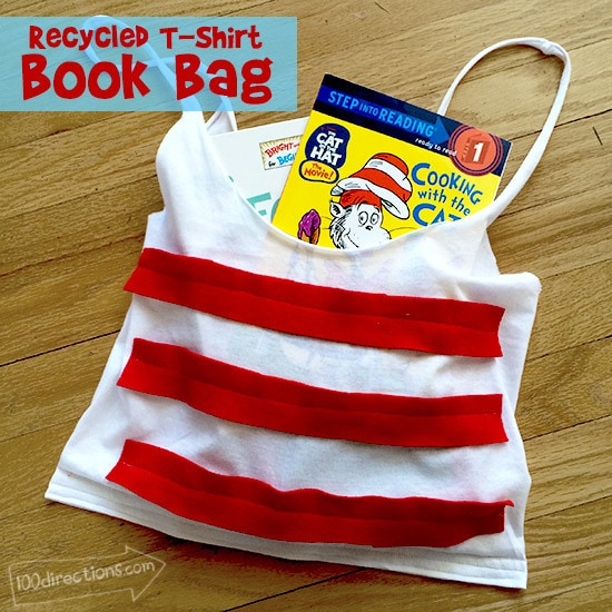 Recycled t-shirt book bag with Dr. Seuss Style