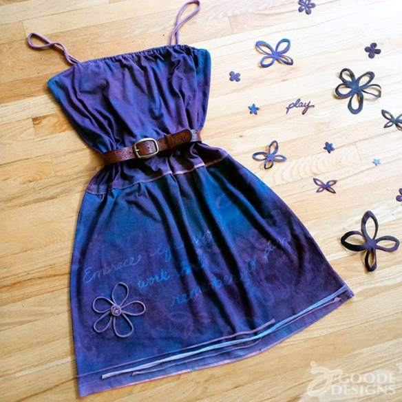 Make art you can wear - upcycled t-shirt art dress by Jen Goode