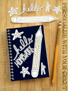 Personalized Homework Notebook made with Cricut and designed by Jen Goode