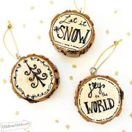Christmas Pen and Ink Wood Slice Ornaments