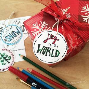Printable Winter Gift Tags you can color yourself - designed by Jen Goode