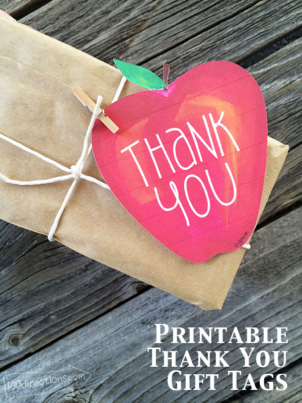 Apple Thank You Gift Tags - 100 Directions