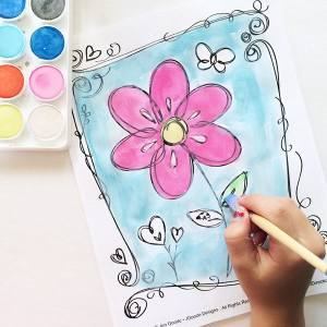 Free flowers and hearts coloring page by Jen Goode