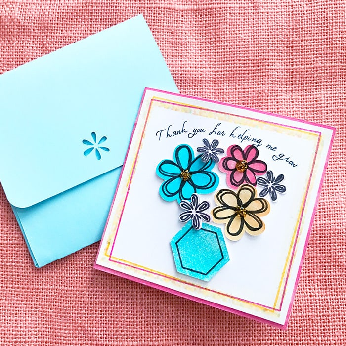 Thank You Flower Card for Teachers - 100 Directions - make your own thank you cards