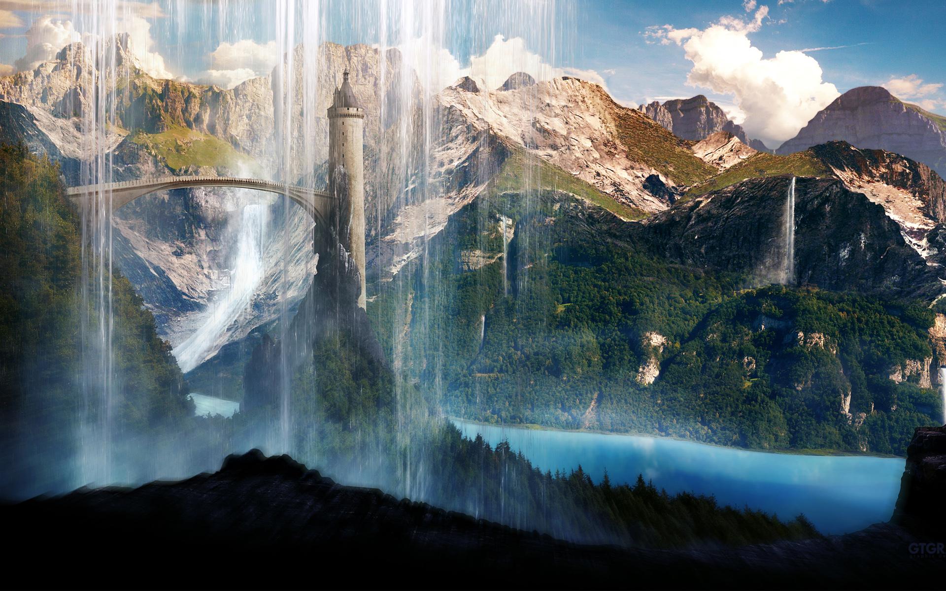Free Desktop Wallpaper Anime Waterfalls Scenery Wallpapers Wallpapers Hd