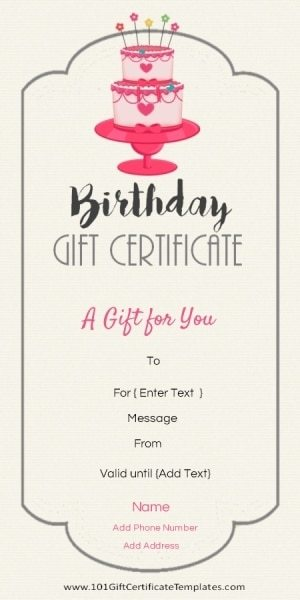 Free Birthday Gift Certificate Template - sample birthday gift certificate template