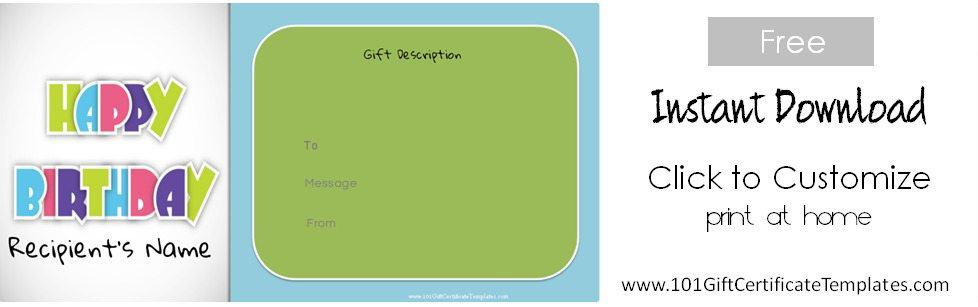 Free Birthday Gift Certificate Template - free printable gift certificate templates online