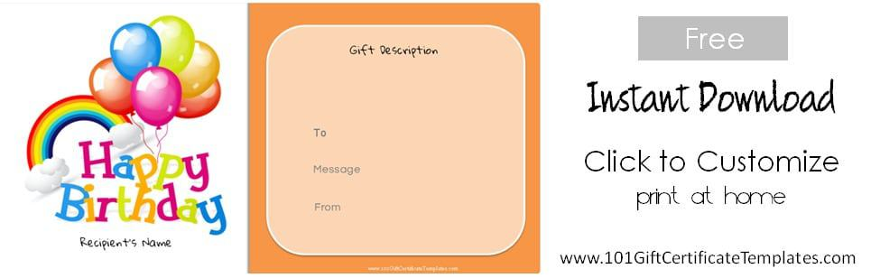 Free Birthday Gift Certificate Template - i owe you certificate