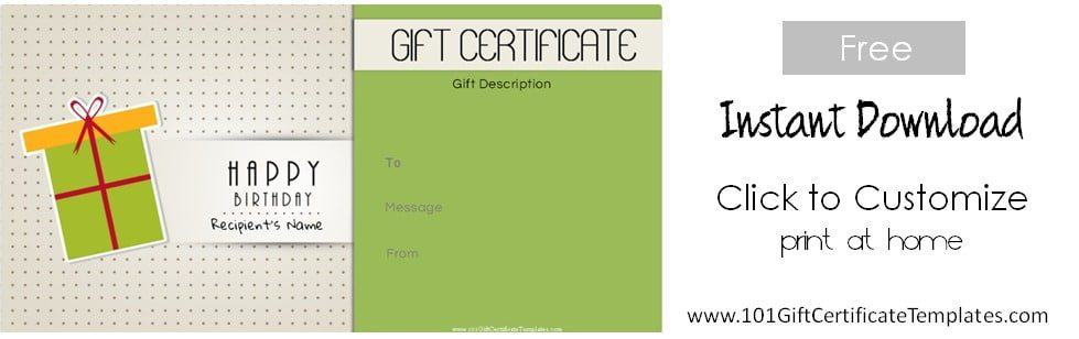 Free Birthday Gift Certificate Template - printable gift certificate template