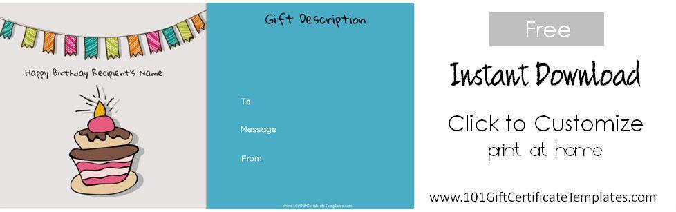 Free Birthday Gift Certificate Template - personalized gift certificates template free