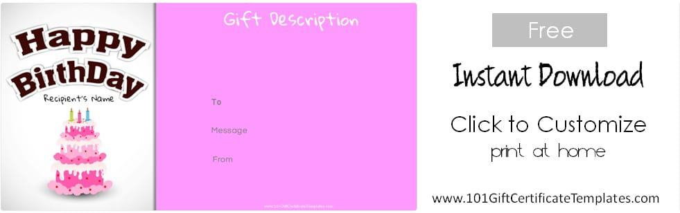 Free Birthday Gift Certificate Template - birthday gift certificate