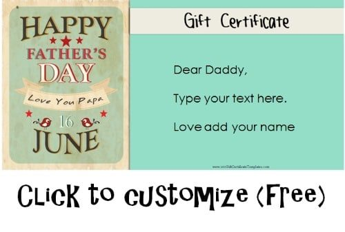 Free Printable Father\u0027s Day Gift Cards - Customize Online - i owe you certificate