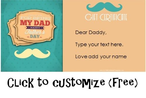 Free Printable Father\u0027s Day Gift Cards - Customize Online - printable gift certificate template